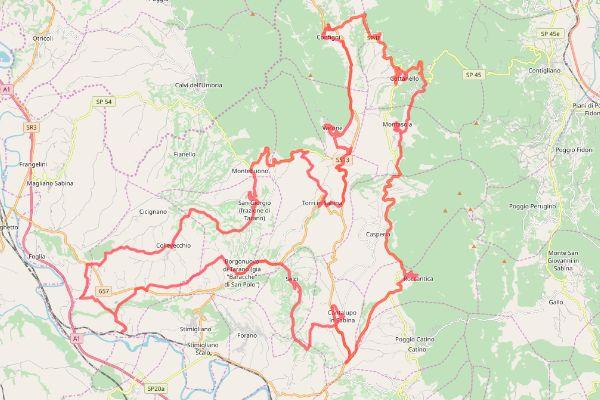 mappa della sabina cicloturistica